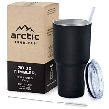 Arctic Tumblers Stainless Steel Camping & Travel Tumbler with Splash Proof Lid and Straw, Double Wall Vacuum Insulated, Premium Insulated Thermos - (Matte Black Powder Coat, 30 oz)