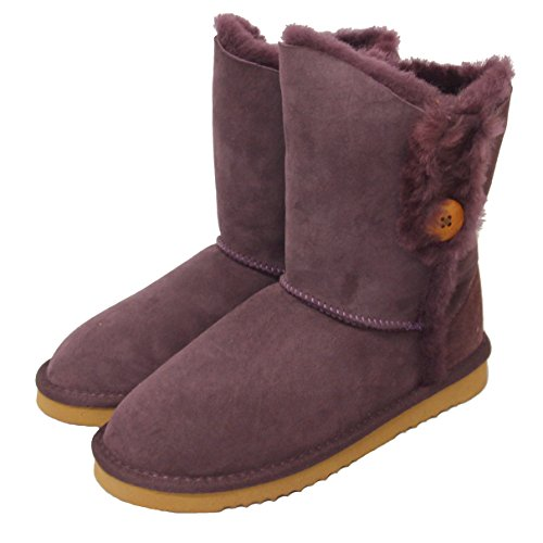 Deluxe Button Sheepskin Boots with British Sheepskin - Purple