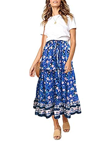 d64fed319d4a7 ZESICA Women's Bohemian Floral Printed Elastic Waist A Line Long Maxi Skirt  with Pockets