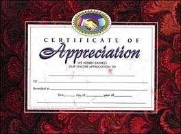 Certificate Of Appreciation -