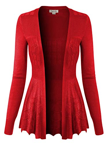 Design by Olivia Women's Long Sleeve Crochet Knit Draped Open Sweater Cardigan M, Icaw015 Dark Coral ()