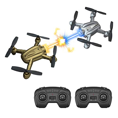 Lefant Mini RC Battle Drones with Infrared Fighting Function, Altitude Hold Mode, 3D Flips, Multirotors and Quadcopter Long Control Range for Kid,Pack of 2(Gold and Silver)