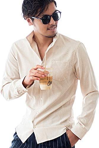 メンズ 長袖 シャツ イタリアンカラー シャンブレー シンプル 立襟 無地 CAST20-35【-】