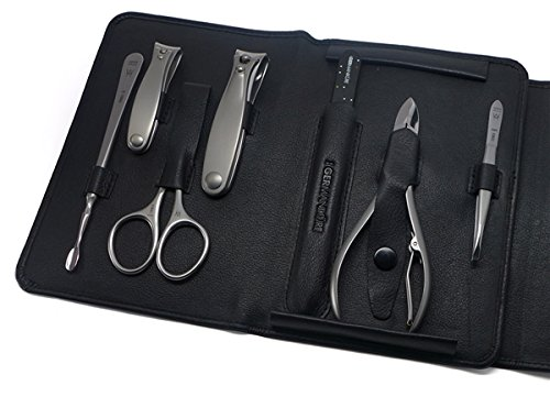 GERManikure 7pc matte stainless steel manicure set in black leather case with magnetic closure