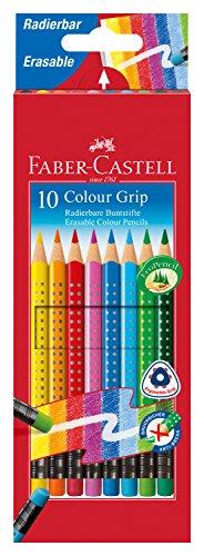 Faber-Castell 116613 Radierbare Colour Grip Buntstifte mit Gummitip, 10er Kartonetui