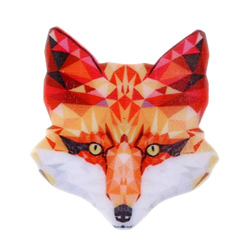 Connie Cloris Acrylic Printing Animal Skull Brooch Pin (M-Red-Cute Fox-4)