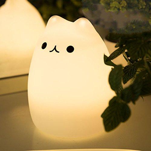 LED Silicone Kids Night Light Portable Adjustable Brightness USB Rechargeable Cat Lamp Colorful Flashing Nightnight (Tap Style 1)