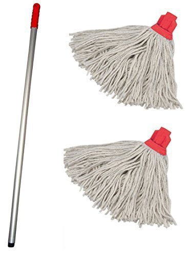 Discounted Cleaning Supplies Professional Colour Coded Mop Handle and 2 Mop Heads - Colour Red