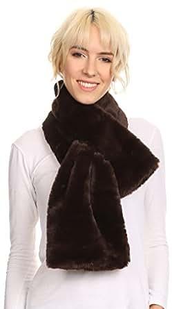 Sakkas 16112 - Malen Long Rectangle Faux Fur Warm Soft Furry Wrap Around Loophole Scarf - Brown - OS