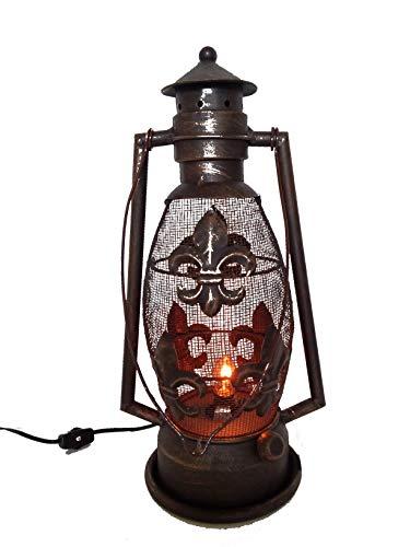S.Star Fleur De Lis Metal Electric Lantern 15.25