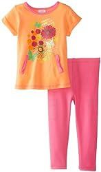 ABSORBA Baby Girls' Denim Legging Set, Orange/Pink, 18 Months