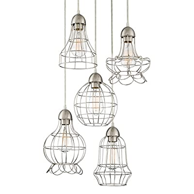 """Revel Wyatt 15"""" Rustic Industrial 5-Light Adjustable Cage Metal Multi-Pendant Chandelier, Brushed Nickel Finish - UNIQUE, COUNTRY DESIGN: Five-caged pendant light shades with a vintage design form a sophisticated ceiling light that adds elegance to your space. With its brushed nickel finish, this long decorative light provides a warm ambiance and fills any room with a DIMENSIONS: Canopy: 1""""(H) x 13.75""""(D), Shades: 10"""" (H) x 6"""" (D), 11"""" (H) x 7"""" (D), 10"""" (H) x 7"""" (D), 9"""" (H) x 6"""" (D), 9"""" (H) x 7"""" (D). Includes 91"""" of wire for desired hanging height. Adjustable height: 14""""-105"""". Dimmer and sloped ceiling compatible UL LISTED FOR YOUR SAFETY: UL listed for dry locations. Uses (5) LED, CFL or up to 60W traditional incandescent medium base bulbs. Bulbs sold separately - kitchen-dining-room-decor, kitchen-dining-room, chandeliers-lighting - 41WRgDHOHWL. SS400  -"""