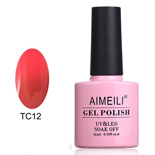 AIMEILI Soak Off UV LED Temperature Color Changing Chameleon Gel Nail Polish - Apple Red To Coral (TC12) 10ml