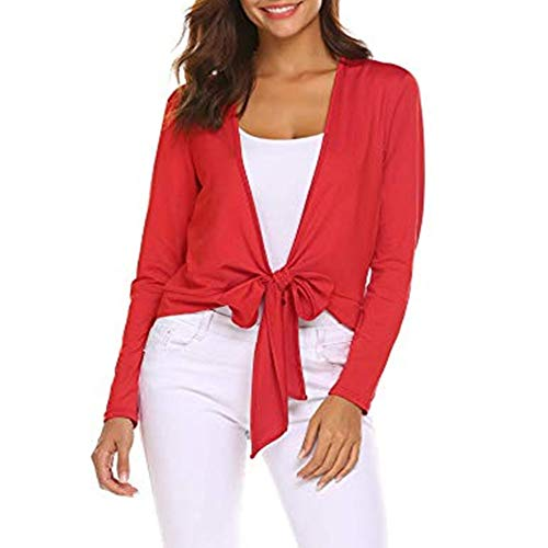 (EASTHER Women's Tie Knot Up Shrug Front Crisscross Shrugs Cardigan Wrap Ladies Long Sleeve Open Top(Red,X-Large))