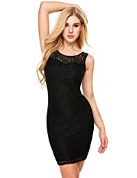 Meaneor Women's Sleeveless Lace Floral Elegant Cocktail Evening Dress