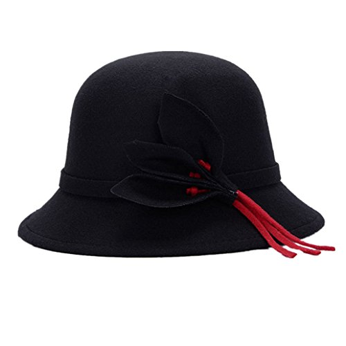 Longlove,ms. Jane Yue Qi Europe and British Style Hat Autumn and Winter Hat Fashion Imitation Wool Warm Hat Flower Leaf (Bougainvillea B)
