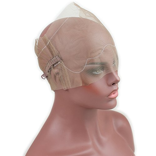 Dreambeauty 360 Full Lace Wig Cap for Making Wigs Swiss and French Lace Hair Net with ear to ear Stretch Medium Brown Color for Wig Making by Dream Beauty