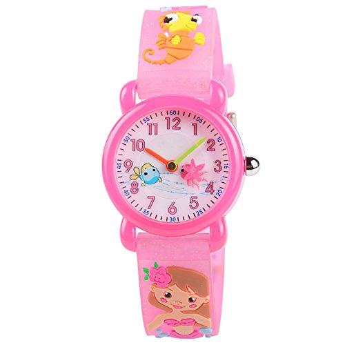 Venhoo Kids Watches Cartoon Waterproof Silicone Children Wristwatches Time Teacher Gifts for Girls (Pink Mermaid)]()