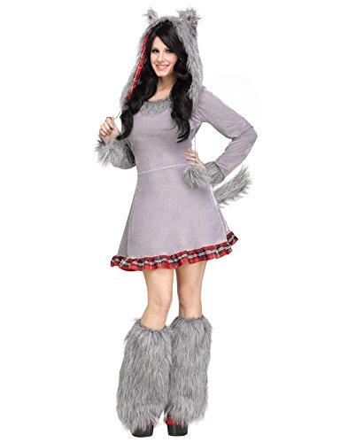 Fun World Women's Wolf Cub Animal Costume, Multi, (Lady Wolf Costume)
