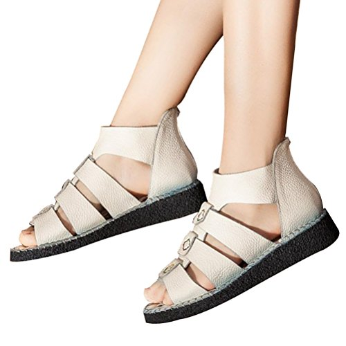 Vogstyle Mujeres Sandalias Plataforma Peep-toe Sandalias Romanas de los Zapatos Suaves ZMY004 Blanquecino
