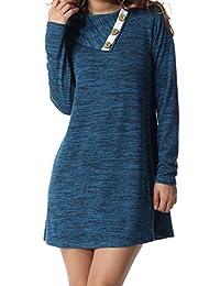 Women's Long Sleeve Button Deco Neck Loose Casual Short T Shirt Dress