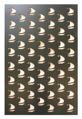 Acurio Sail Boat Black Vinyl Lattice Decorative Privacy Panel