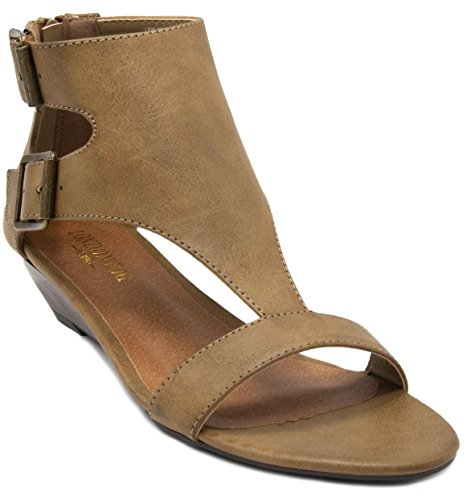Pro Sandals Sandal Womens (London Fog Women's Wheaton Demi Wedge Sandal Brown Smooth 8.5 M US)
