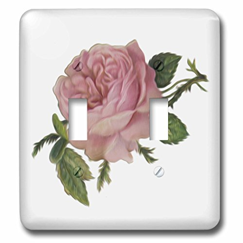 3dRose lsp_104602_2 Lovely Victorian Vintage Pink Rose Floral Digital Oil Painting Double Toggle Switch
