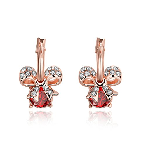Acxico Women's Fashion Crystal Pave Bow Ribbon with red zircon Stud Earrings rose gold