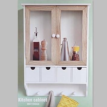 Küchenschrank Wandschrank Hängeschrank 4 Haken 4 Schubladen 2