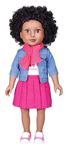 Kindred Hearts Dolls Danica Black Curly Hair Brown Eyes PVC Girl Doll, African American, 18