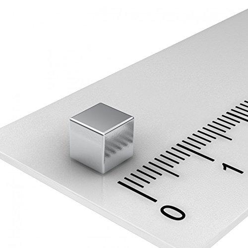 250 x Neodym Würfelmagnet, 5x5x5 mm, Grade N52, vernickelt