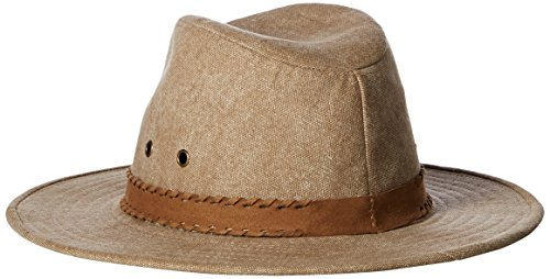 Ale by Alessandra Women's Jaxson Adjustable Vintage Washed Canvas Hat with Suede Trim and Upf 50+ , Caramel, One Size
