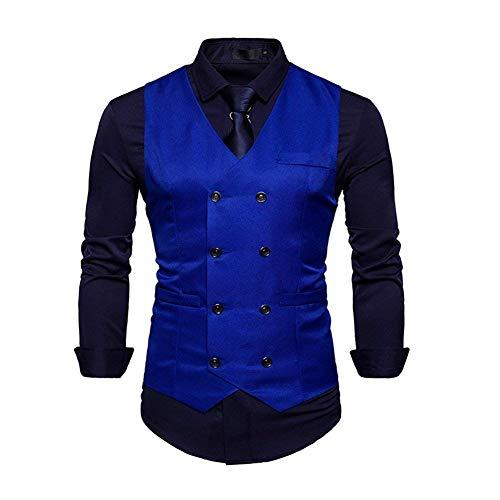 Blazer Fit Gilet Suit V Mariage neck Business Costume Pour Smart Blau De Vest Slim Retro Top Hommes Solenn YzRBqY