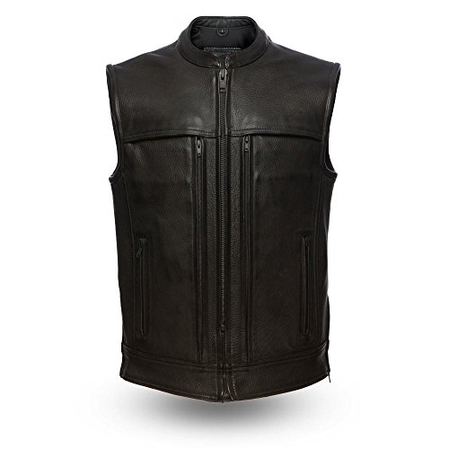 First Manufacturing Platinum Series Men's Rampage Leather Vest (Black, X-Large) ()