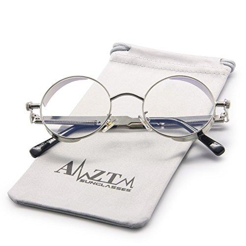 AMZTM Outdoor Reading Glasses Fashion Retro Steampunk Small Round Metal Frame Glass Lens Non-polarized Sunglasses For Women & Men (Silver Frame Clear Lens, - Glasses Reading Steampunk