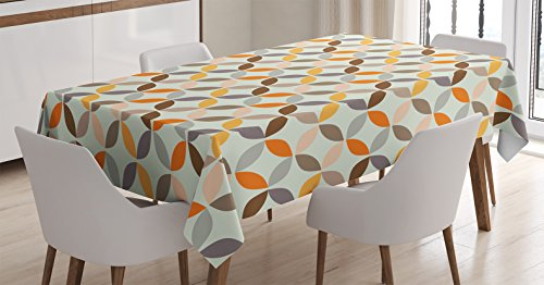 """Ambesonne Geometric Circle Tablecloth, Colorful Modern Spherical Complex Opposite Angled Cyclic Tiles Oval Print, Dining Room Kitchen Rectangular Table Cover, 60"""" X 84"""", Taupe Grey"""
