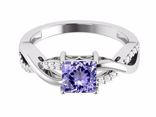 Shine jewel 925 silver square cut tanzanite twisted ring