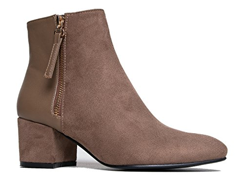(J. Adams Zuma Ankle Bootie - Closed Pointed Toe Low Block Heel Zip Up Boot)