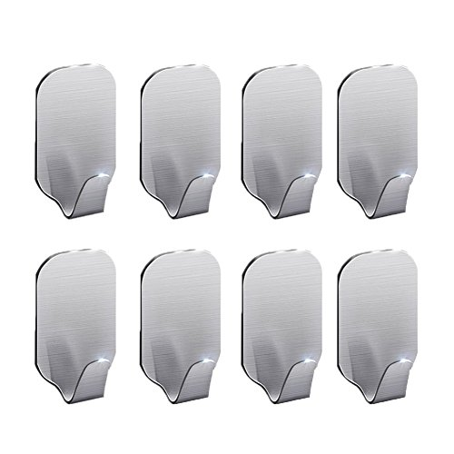 Labkiss 3M Adhesive Hooks, Super Power Heavy Duty J Hooks, NO Drill, NO Mark, Waterproof, Wall Mount Hooks for Coat Towel Robe Key, Design for Hotel Bedroom Bathroom Kitchen Cabinet Shower, 8 Pack