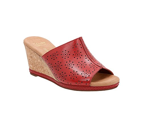 CLARKS Womens Helio Corridor Wedge Sandal Red h47lfd