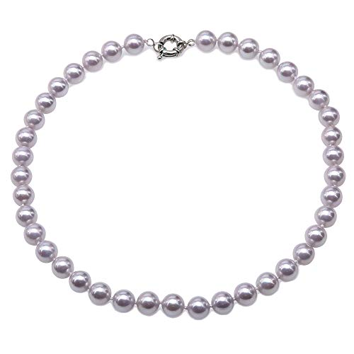 JYX Pearl Necklace 10mm Genuine Lavender South Sea Shell Pearl Necklace Round Beads Necklace for Women 18''