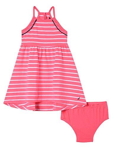 Nautica Baby Girls Spaghetti Strap Fashion Dress, lace Stripe Dark Pink 12 Months