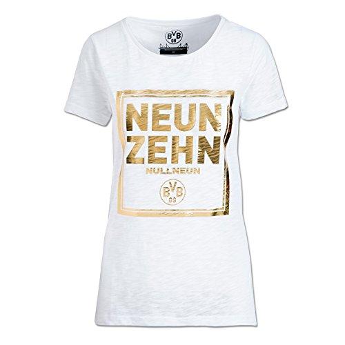 Borussia Dortmund T-Shirt für Damen, Weiß, Baumwolle, S-3XL, Neunzehnnullneun-Druck, BVB-Emblem (Weiß)