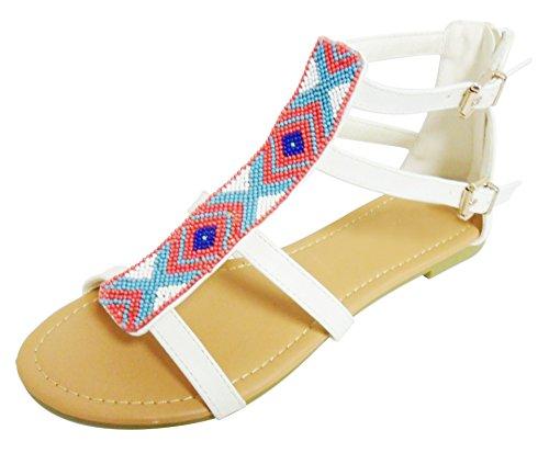 - Best Comfortable Sandalias de Mujer Colored Beaded Multi Strap Shoe Sandal for Women Teen Girl (White Size 6.5)