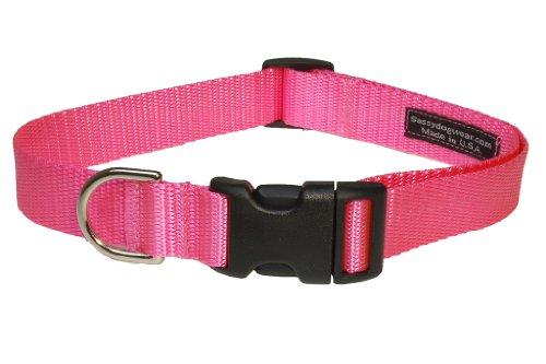Sassy Dog Wear 13-20-Inch Pink Nylon Webbing Dog Collar, Medium