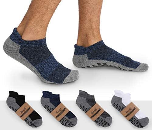 Calcetines antideslizantes para tobillo (4 pares) – Calcetines antideslizantes para yoga, pilates, maternidad, embarazo, hospital, adultos, hombres y mujeres 6