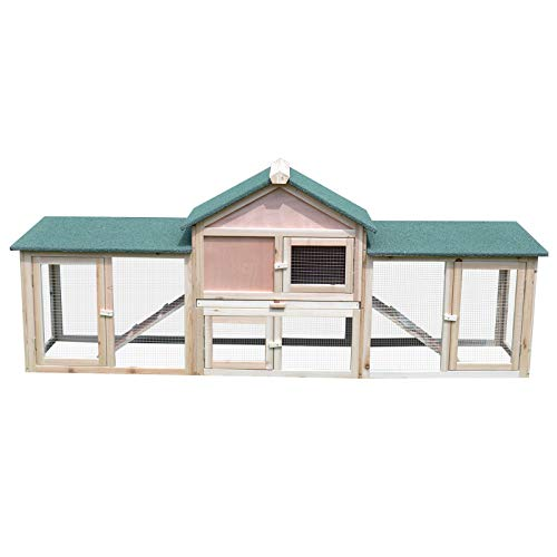 "(PawHut 83"" Wood 2 Story Outdoor Deluxe XL Rabbit Hutch )"