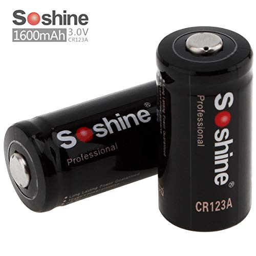 Soshine 2 Pack CR123A Lithium 3V 1600mAh Batteries, Lithium Photo Batteries for Arlo Cameras, Flashlight, Headlamps, Security - System Headlamp