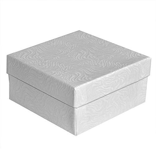 Swirl White Cotton Filled Jewelry Boxes #34 - Pack of 100